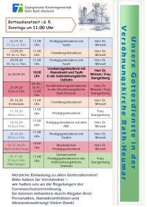 aktueller Predigtplan für die Versöhnungskirche Rath-Heumar