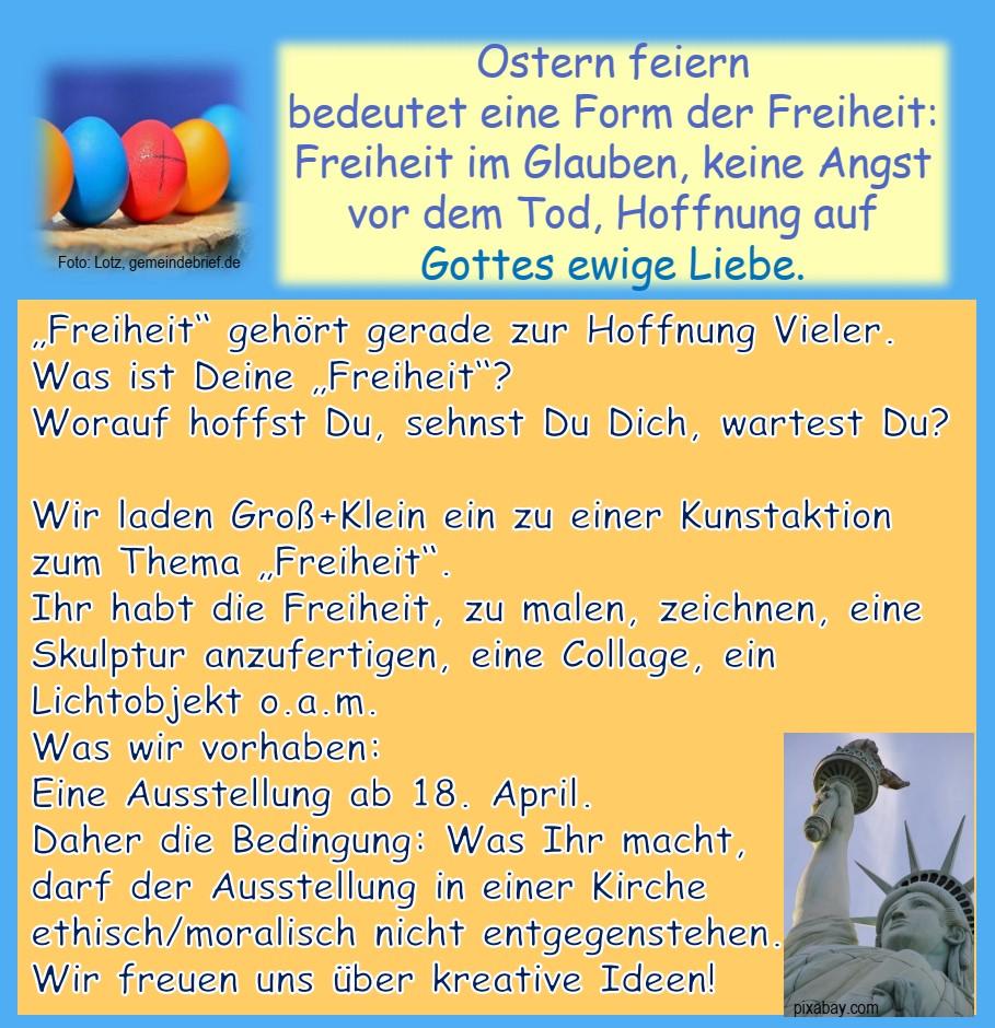 Freiheit!  Kunstaktion zu Ostern 2021 in Ostheim